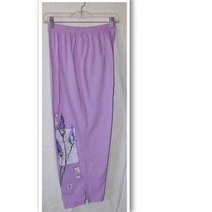 Pants - Embellished Lavender Loungewear Capri Pants